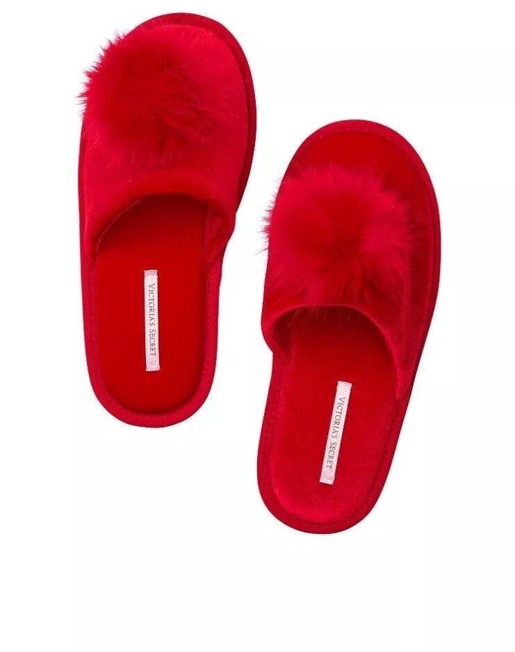 Victoria's Secret • Pom Pom Slippers  ️ • Red Licorice • Size  M • BNWT
