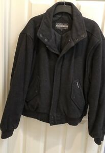Vintage-Members-Only-Mens-46-Pure-Wool-Bomber-Jacket-Charcoal-Gray
