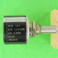 Precision Potentiometer 1K Ohm 5% 10Turn Superior Stop Strength Rugged Spectrol