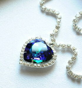 ca3957f98d6c7 Details about Titanic Pretty HEART OF THE OCEAN Big Blue CRYSTAL Pendant  NECKLACE