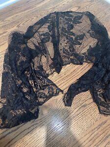 Vintage-Womens-Black-Lace-Shawl
