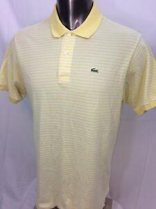 Lacoste-Men-039-s-Polo-Yellow-Striped-Short-Sleeve-Croc-Logo-Size-7