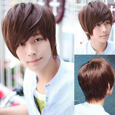 Fashion Men's Korean Style Short Full Hair Wigs Cosplay Party Fluffy Fibre Hair