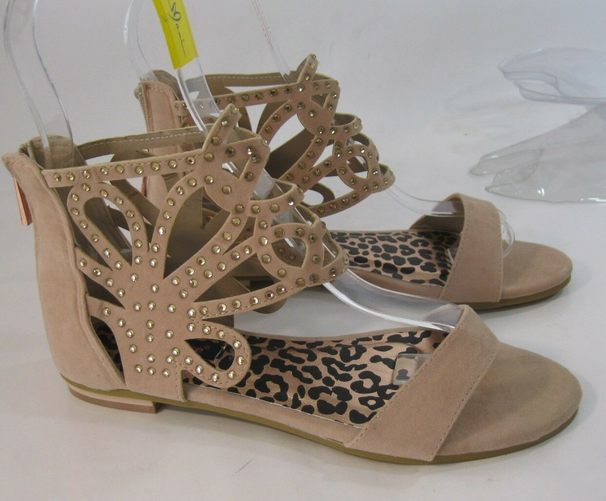Summer Gladiator Skintone Rhinestone Womens Shoes Roman Gladiator Summer Sexy Sandals Size 7.5 d45324