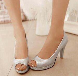 2756f190a76 Ladies Peep Toe Shiny Stone Veins Pumps Block Heels Sandals Mid ...