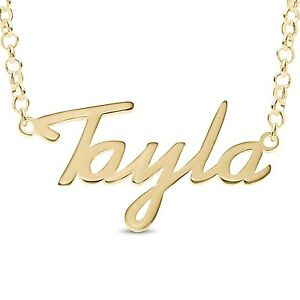 """RUBY Personalised Sterling Silver Name Necklace Gold Plated Nameplate Gift 20/"""""""
