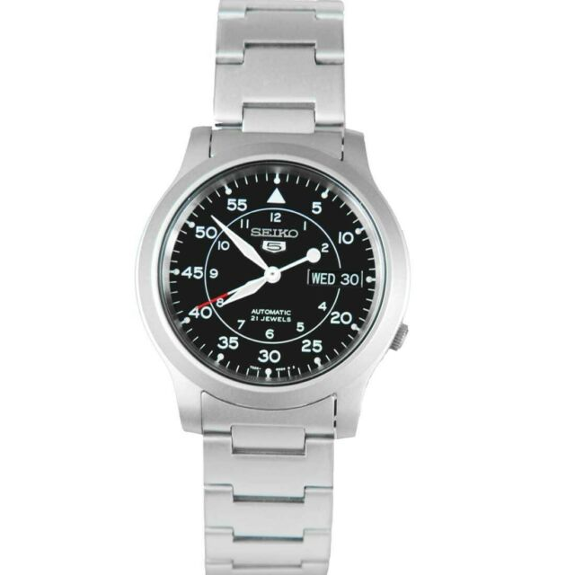 Seiko 5 Automatic Men Black Dial Day Date Stainless Steel Watch SNK809 SNK809K1