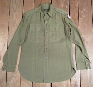 Vintage-WWII-US-Army-Uniform-Shirt-Military-1940s-Service-Forces-Patch-Wool-Gab