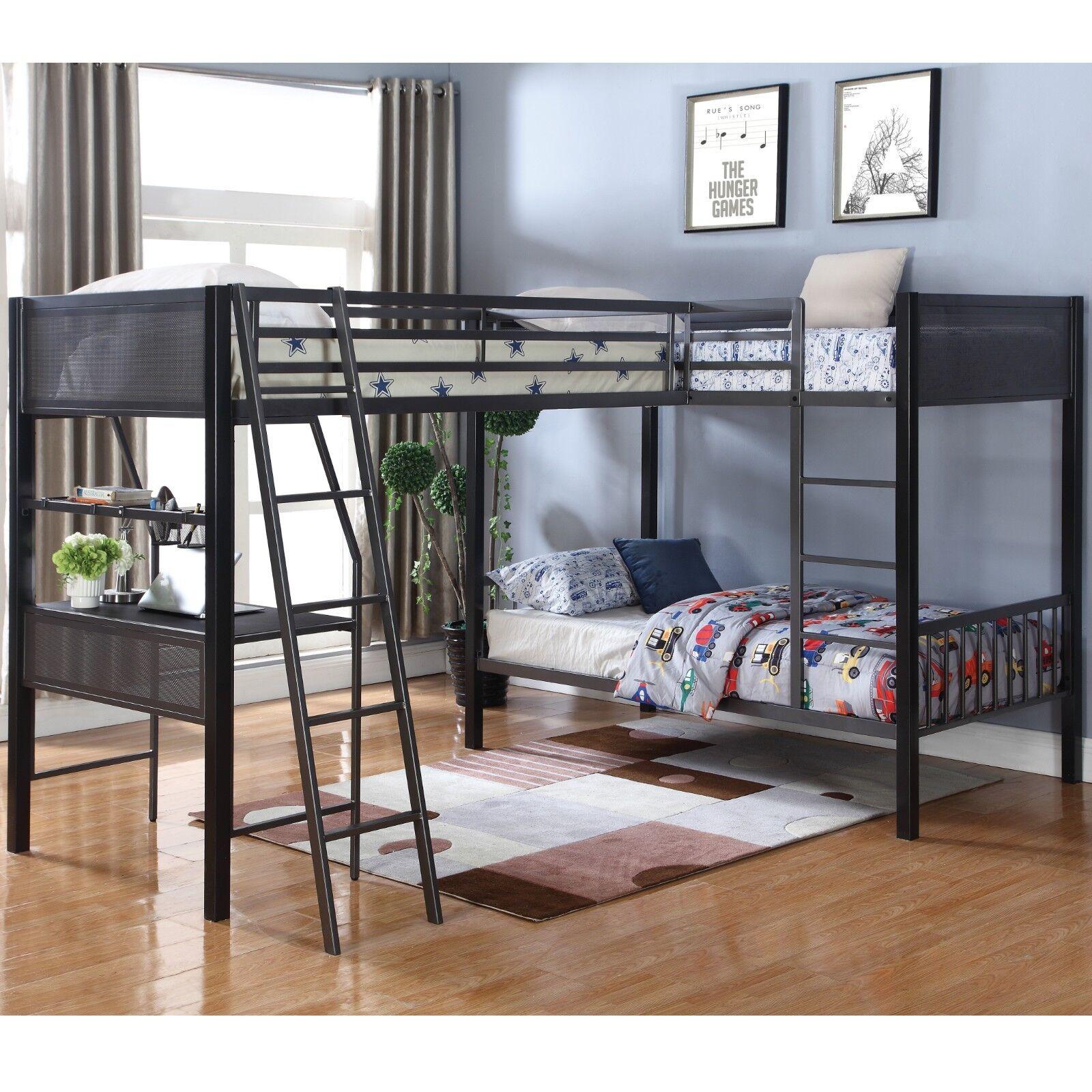 Modern Heavy Duty Metal Triple Bunk Bed With Workstation Twin Full Size Ebay