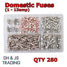 Assorted Box of Domestic Fuses 1 2 3 5 7 10 13 a amp Plug Top Fuse Qty 280