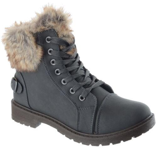Womens Ladies Winter Warm Faux Fur Flat Low Block Heel Ankle Boots Shoes Size