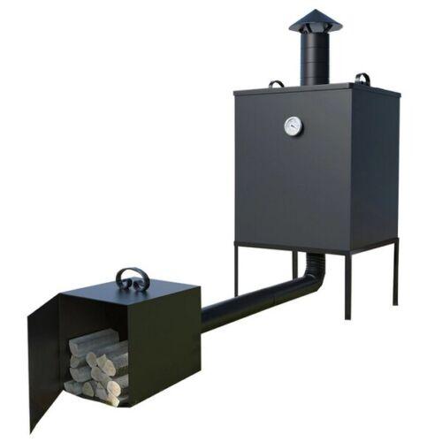 Räucherofen mit Kamin aus Stahl Räucherofen Metall Stahl Feuerkammer Smoker