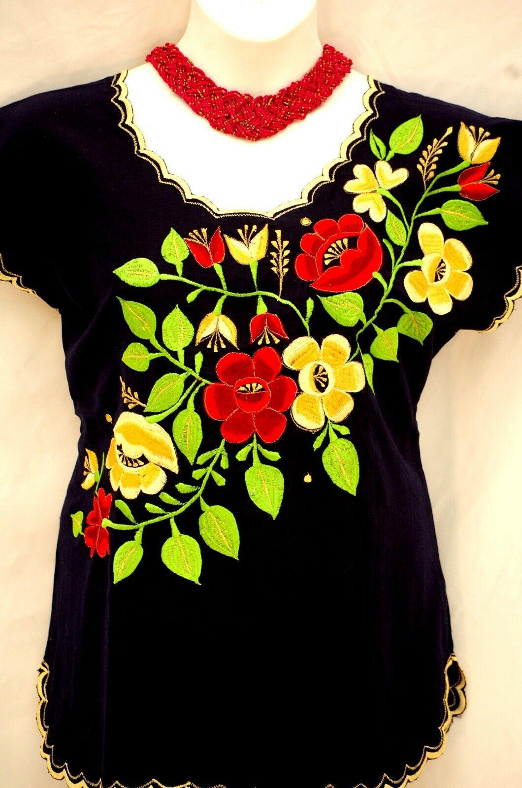 5 de Mayo Mexico Navy Blau Blouse Top linen Frida Big Floral Embroiderot Yucatan