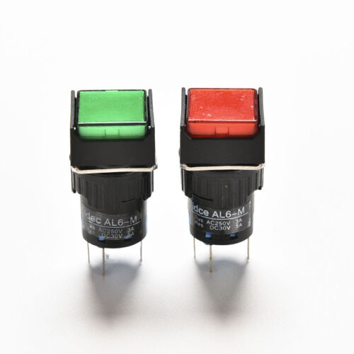 1//5x 16mm 12V Push Button Self-Reset Switch Square LED Light Momentary LatcMAEK