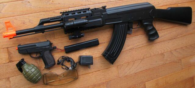 Ak47 Tactical Auto Electric Airsoft Gun W/laser Flashlight Extra Pistol BB