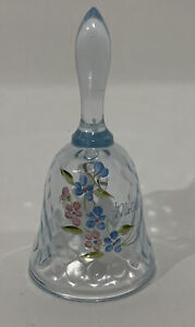 Vintage-Fenton-Glass-Blue-Hue-Bell-Hand-Painted-Flowers-amp-Mother-Signed