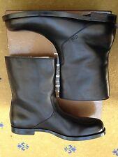 New Gucci Mens Shearling Fur Lined Black Leather Boots UK 12 US 13 EU 46 Script