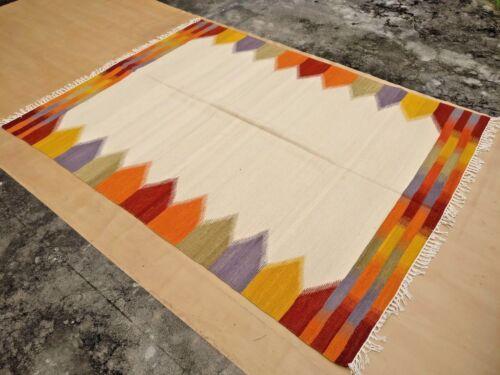 Large Afghan Kilim Rug Carpet 5/'x8/' Hand Woven Traditional Ghazni Wool Kelim