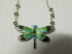VINTAGE-MEXICAN-STERLING-SILVER-ENAMEL-DRAGONFLY-NECKLACE-W-SMALL-GREEN-STONES