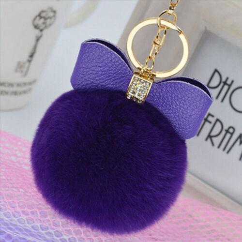 Hot Fluffy Faux Rabbit Fur Pompom Car Handbag Keychain Keyring Pendant Gift