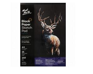 Mont-Marte-Sketch-Pad-A3-Black-Paper-25-Sheet-140-gsm-Draw-Pastels-Charcoal-Book