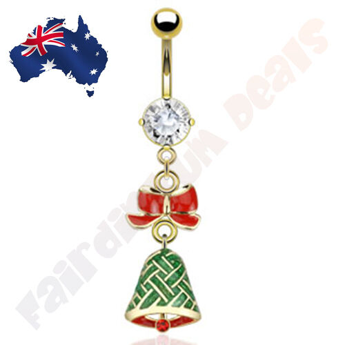 316L Surgical Steel Gold Plated Christmas Bell Belly Dangle Ring