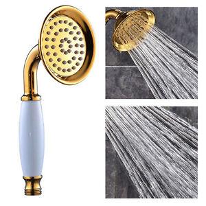Golden Brass&Ceramics Handheld Telephone Style Shower Head Handheld Sprayer Shower Heads Shower Plumbing Supplies