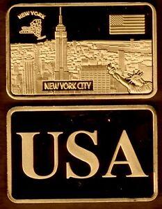 JOLI-LINGOT-PLAQUE-BRONZE-USA-NEW-YORK