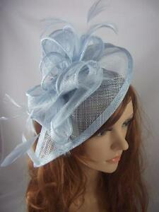 Image is loading Pale-Blue-Teardrop-Sinamay-Fascinator -with-Feathers-Occasion- 38b886e7800