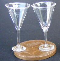 1:12 Scale 2 Clear Wine Glasses Dolls House Miniature Pub Drink Accessory Gla29