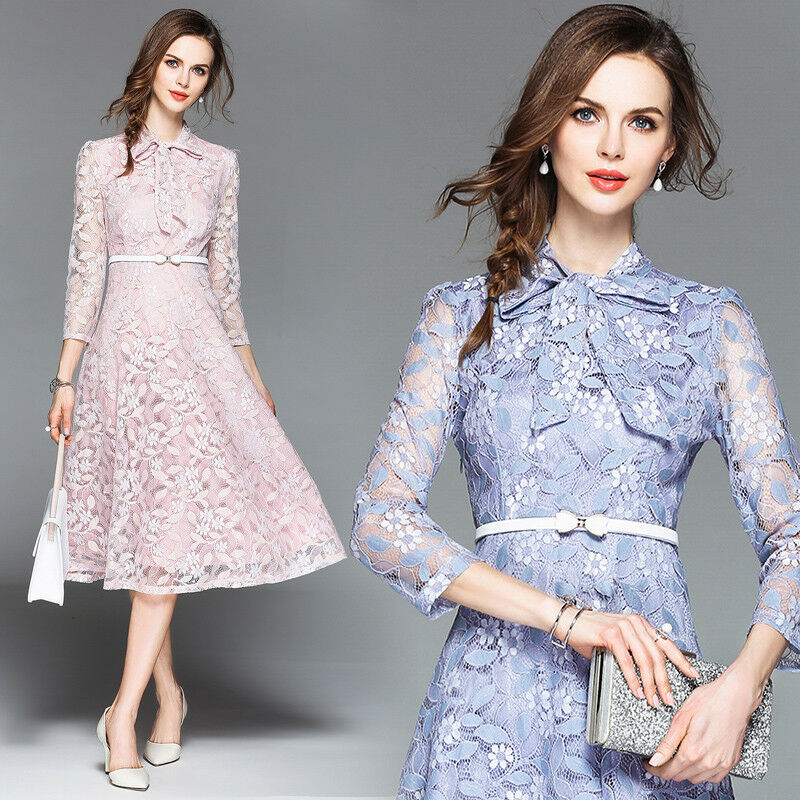 Sweet Women's Bowknot Lace Belt Vogue Flowers Hollow 3 4sleeve Dress Size S-2XL