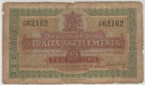 Mazuma *M1236 Straits Settlements 1919 10 Cents A/52 62162 Nice Number F Only