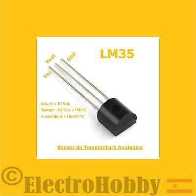 LM35DZ Sensor de temperatura analogico, termometro de precision TO-92 Arduino