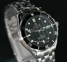 Alpha Seamaster Date Automatic Gents Watch Black Ripple Dial Brand New !!!!