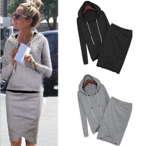 Wholesale Women Sweatshirt Suits Tops+Skirt 2PCS Casual Knitting Hoodies Sets