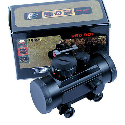 Stock Red Green Dot Laser Tactical 1x30 Sight Scope w/10mm-20mm Weaver Mounts