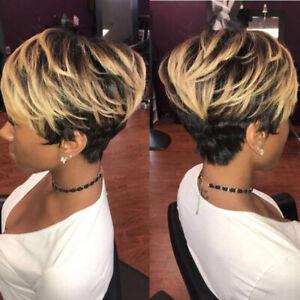 Details Zu Damen Ombre Wig Ombre Blonde Perücke Kurzhaarperücke Afro Haarteile Glatt Haar