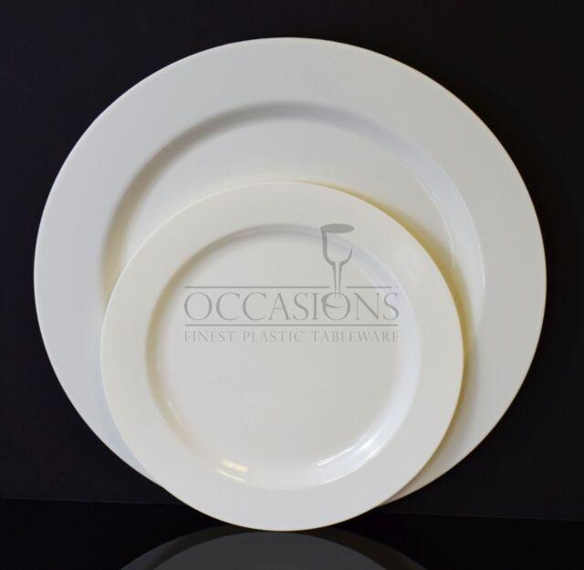 "Bulk, "" Burlap Wedding Party "" Plastic Disposable Bone / Ivory  or White Plates"