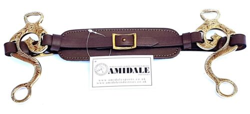 AMIDALE HACKAMORE BIT-LES HORSE BIT ENGRAVED BRASS PADDED LEATHER  BNWT