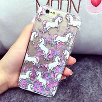 For iPhone 5 5S 6 6S Plus Luxury Cartoon Unicorn Liquid Glitter Hard Case Cover