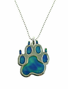 Mood changing pendant necklace dog paw print with adjustable chain image is loading mood changing pendant necklace dog paw print with mozeypictures Gallery