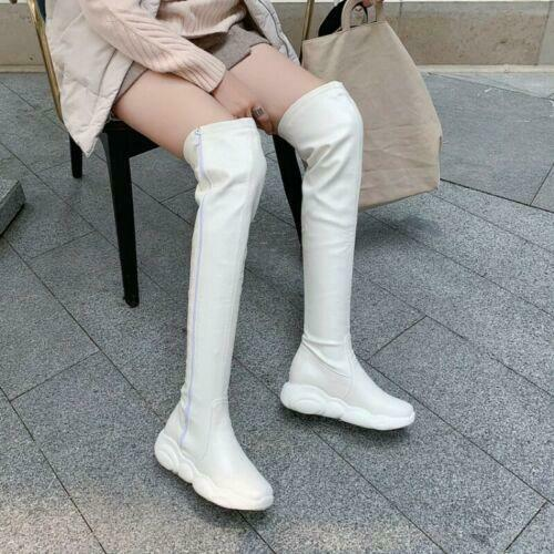 Women/'s Punk Bout Rond Bottes à Crampons Over the Knee High Knight Bottes 34-46 confortable