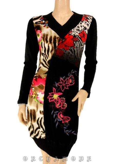 Robe Tunique Pull  MY DESIGN Taille 44 XL 5 broderie Fleurs perles Soirée NEUF