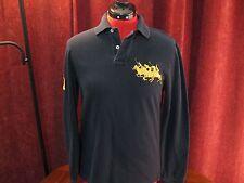 Men's Ralph Lauren Polo Multi Pony Custom Fit Long Sleeve Polo Shirt Black Small