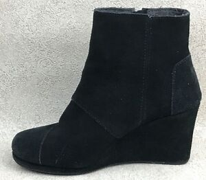 54457451e29 AMPUTEE RIGHT SHOE ONLY Womens 7.5 TOMS Wedge Ankle Boot Black Suede ...