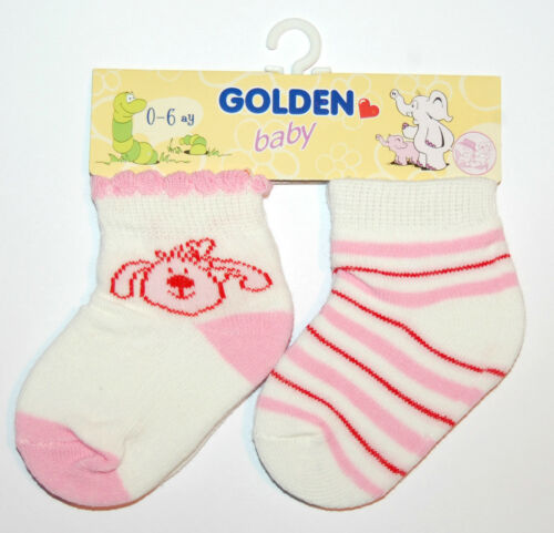 Recién Nacido Bebé Niña Paquete De 2 Calcetines de tobillo alto Lindo Rosado de la edad de 0-6 meses