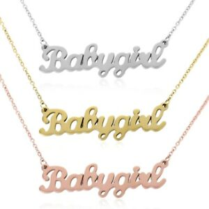 Gold-Silver-Pink-034-Babygirl-034-Name-Necklace-Stainless-Steel-Chain-Choker-Jewelry
