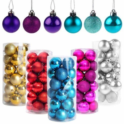 24 pcs Glitter Christmas Baubles Xmas Tree Ornament Ball Christmas Decor