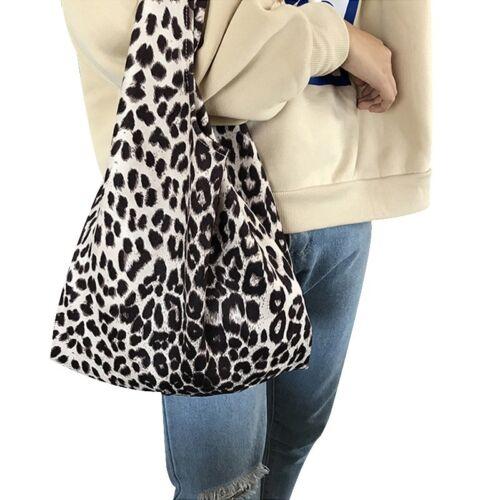 Leopard Print Bag Casual Shopping Handbag Women Chic Wrist Bag Tote Shoulder Bag