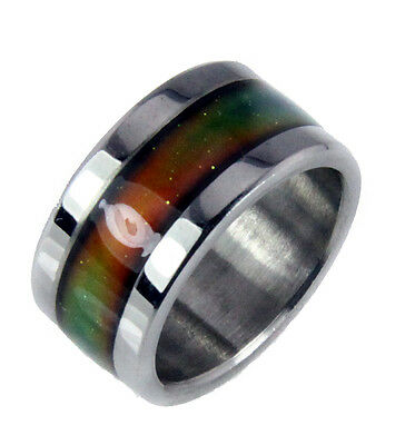 10mm Solid Heavy Stainless Steel Mood Ring Hypersensitive Color 70's Look Nice